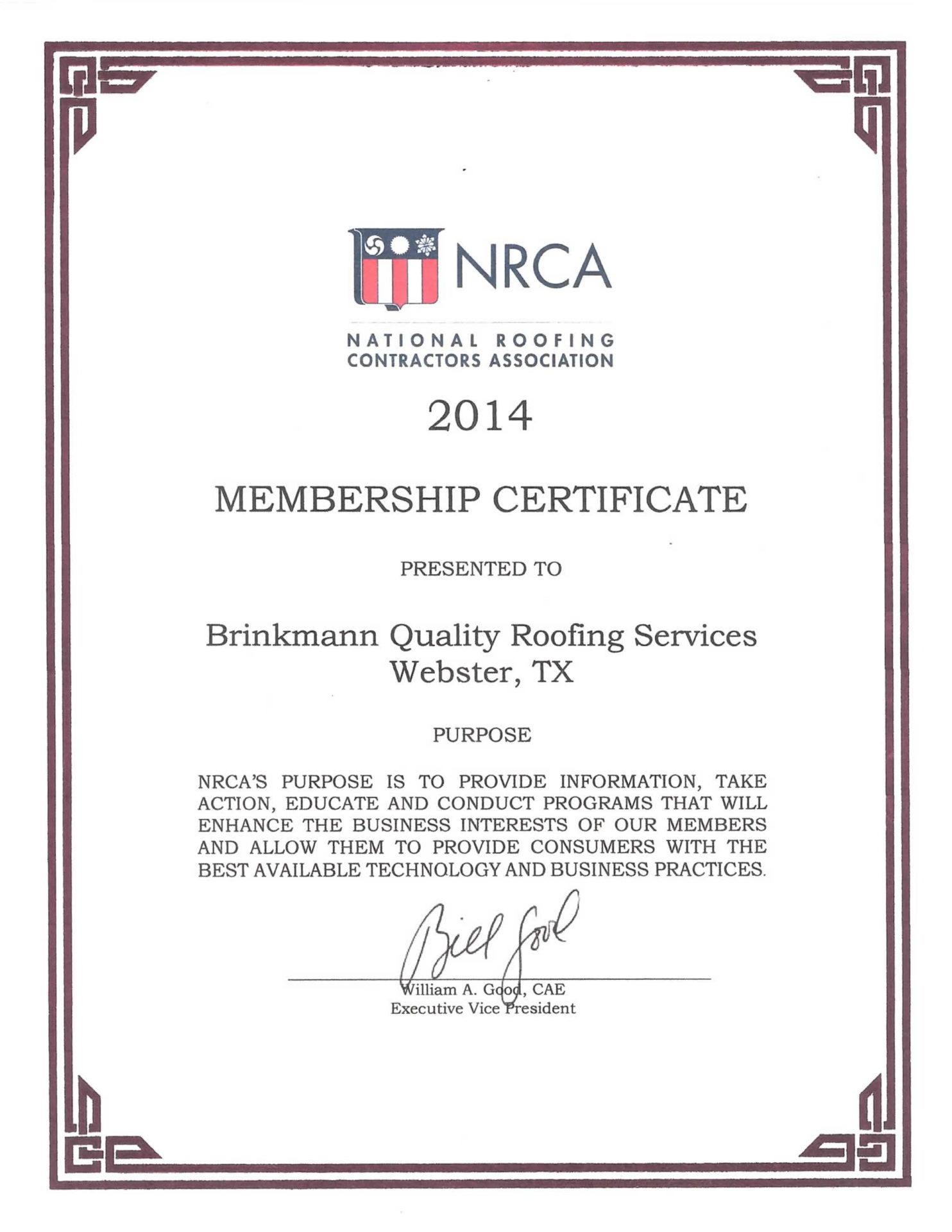 NRCA Membership Certificate